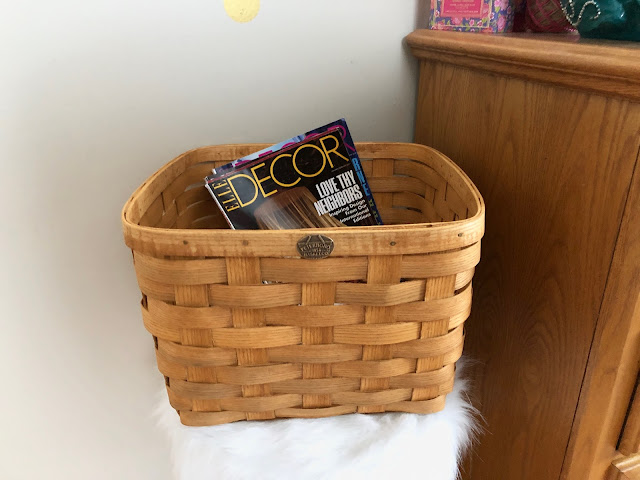 Peterboro Basket used to store magazines