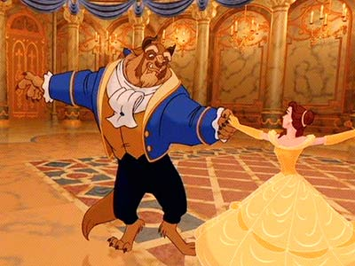 Belle and the Beast dancing in Beauty and the Beast