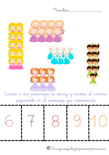 aprender numeros con princesas disney
