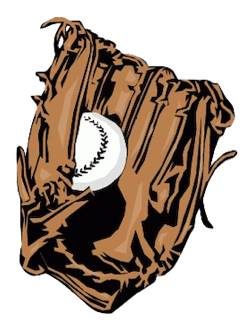 Illustration of baseball mitt with baseball in the pocket