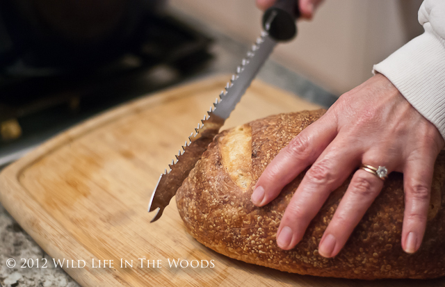 Slicing a Loaf of Sourdough Bread