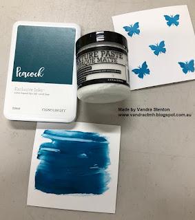 #ctmhVandra, Colour Dare Challenge, color dare, peacock, texture paste, palette knives, opaque matte, hello, CTMH, technique, Butterflies,