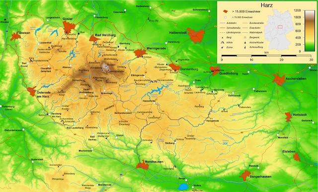 mapa das montanhas de Harz, Alemanha
