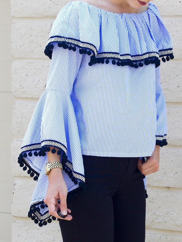 Off The Shoulder Pom Pom Top