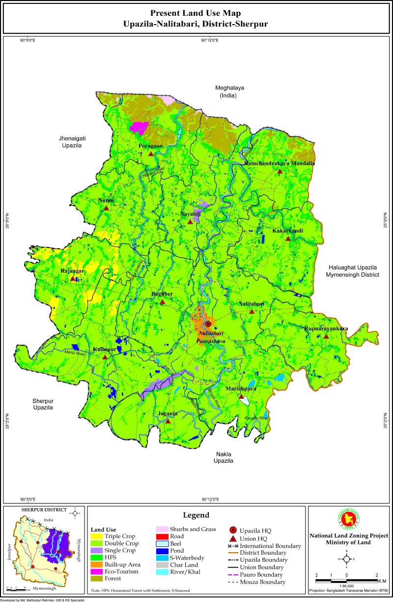Nalitabari Upazila Mouza Map Sherpur District Bangladesh