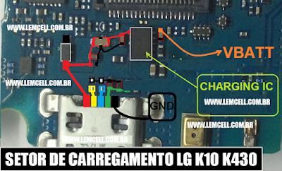 Solução Jumper LG K10 K430 Setor de CargaLG K10 K430 Charging Solution Ways