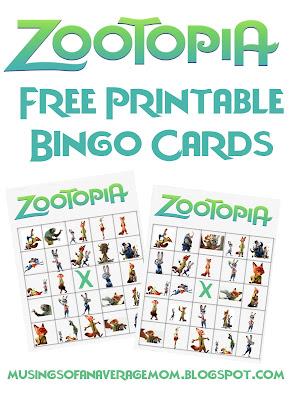 Zootopia free printable bingo