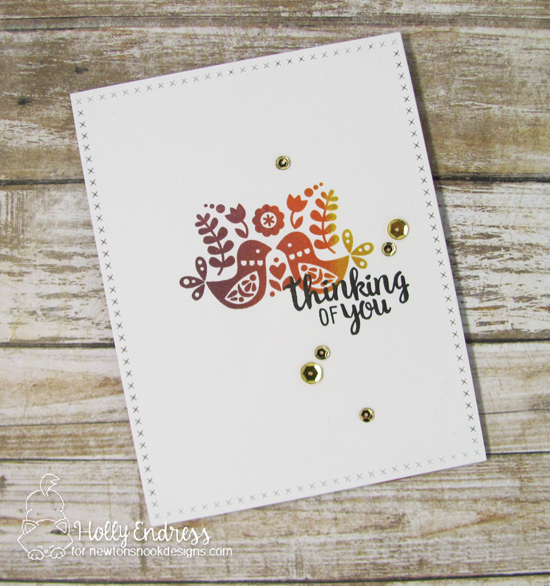 Thinking of you Ombre Bird Card by Holly Endress | Cottage Garden stamp set and die set by Newton's Nook Designs #newtonsnook