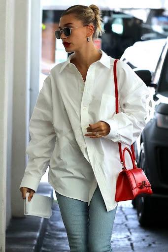 Hailey Bieber – female celebrity high street fashion style latest photo