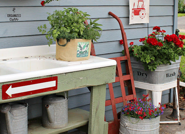 Junk Garden Potting Sink Decor