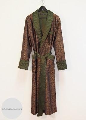 mens long silk robe luxury paisley baroque dark gold brown green tailored dapper gentleman dressing gown birthday gift