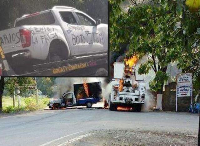 Las Viagras vuelven a tomar vehículos, para incendiarlos y bloquear carreteras en Michoacan, llego ejercito y huyeron