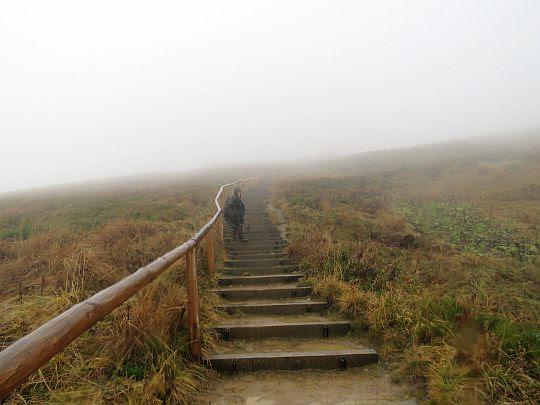 Podejście po stopniach na Przełęcz pod Tarnicą.