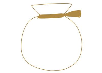 アイコン 「お金」 (作: 塚原 美樹) ~ 袋の口を縛っている紐を描き足す
