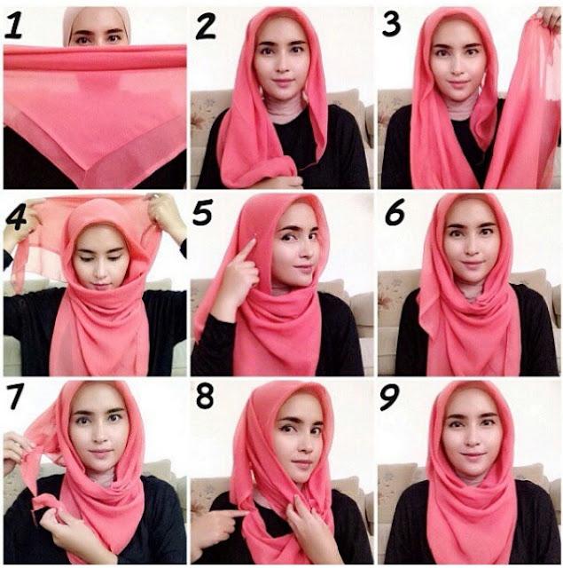 Tutorial Hijab Segi Empat Paris 30 Cara Memakai Jilbab Segi