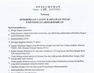 Lowongan Karyawan Tetap Universita Ahmad Dahlan