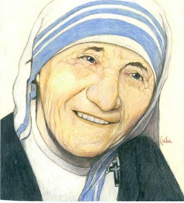 Moeder Teresa, afgebeeld op een tekening