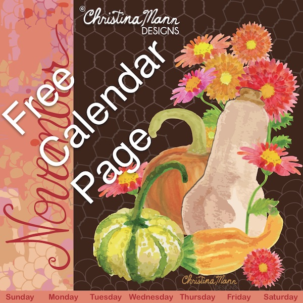 Free printable November calendar page features gouache hand-painted mums and squash | Visit Christina Mann Designs