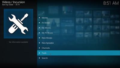 Select the tool option on Kodi