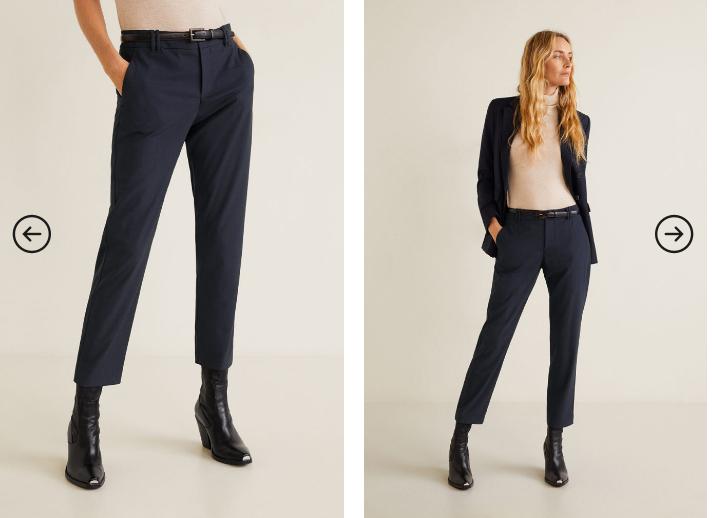 Mango - Pantaloni de dama office bleumarin moderni