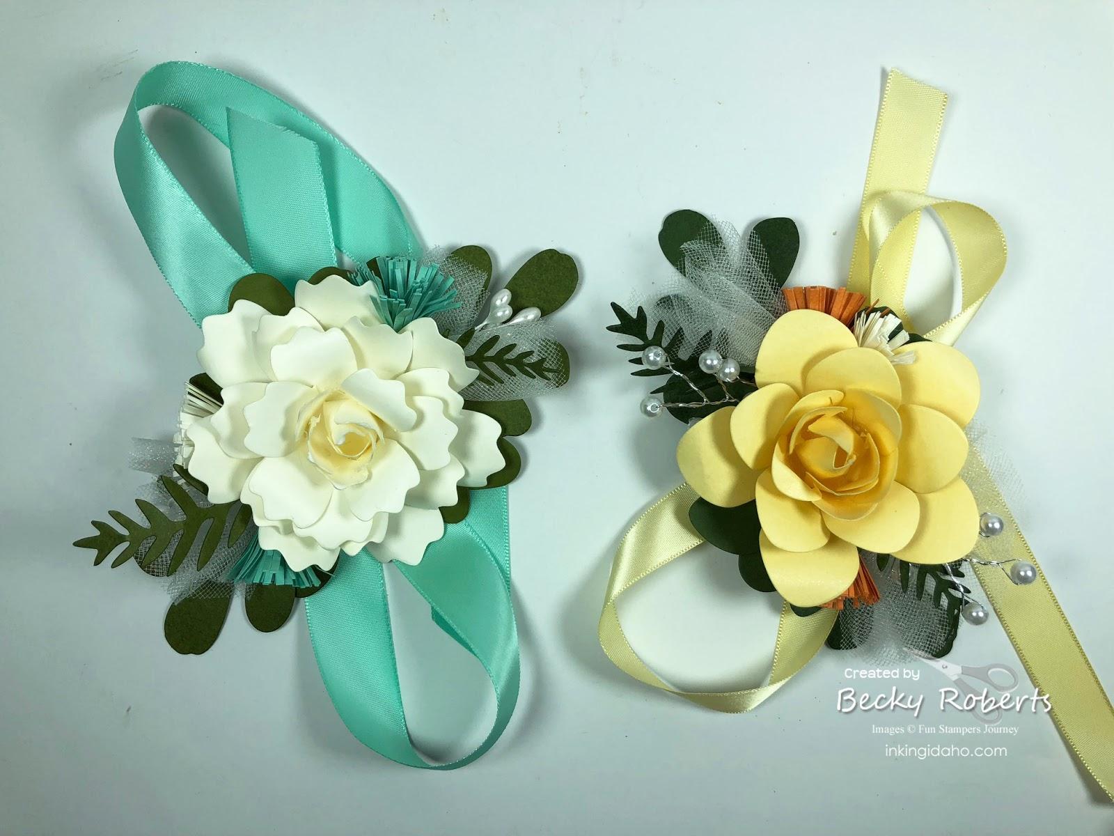 Inking Idaho Paper Flower Wrist Corsages