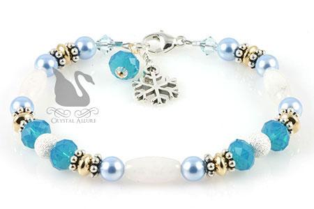 Snow Jade Gemstone Blue Crystal Snowflake Charm Bracelet (B169)