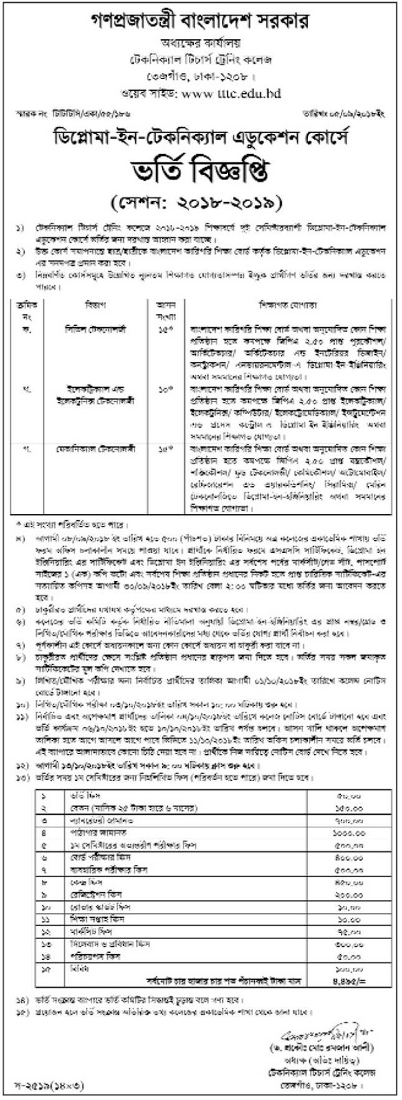 Diploma-in-Technical Education Admission Circular 2018-2019