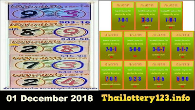 Thailand lottery VIP 123 winning numbers sixline 01 December 2018