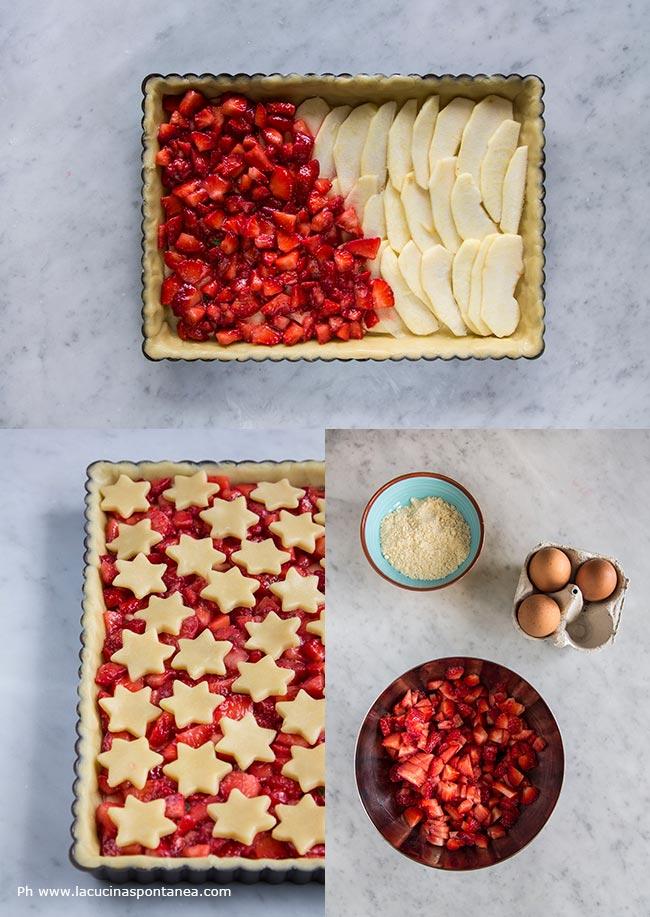 Foto con passaggi della crostata di fragole