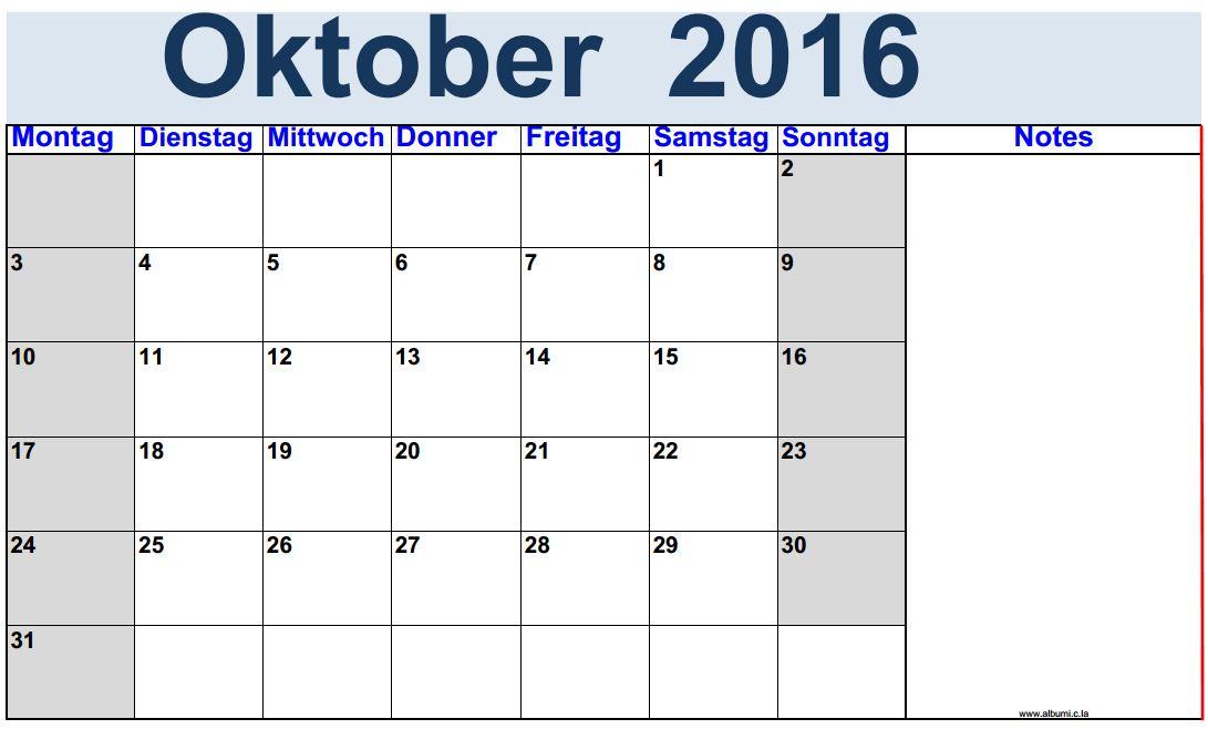 kalendar oktober 2016 zum ausdrucken 2016 blank calendar calendar en www albumi c la. Black Bedroom Furniture Sets. Home Design Ideas