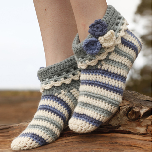 Annabelle Crocheted Striped Slippers - Free Pattern
