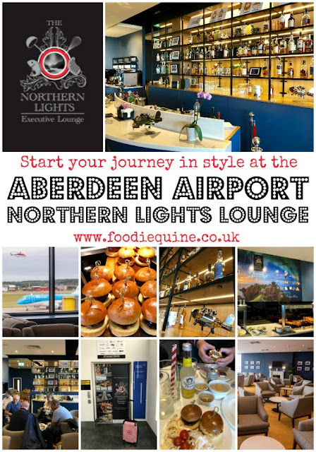 www.foodiequine.co.uk Review of the the Northern Lights Executive Lounge at Aberdeen AIrport where you can start your journey in style. Located on the first floor of the main terminal, guests can enjoy a relaxed pre-flight atmosphere with a complimentary selection of proudly local food and drinks.