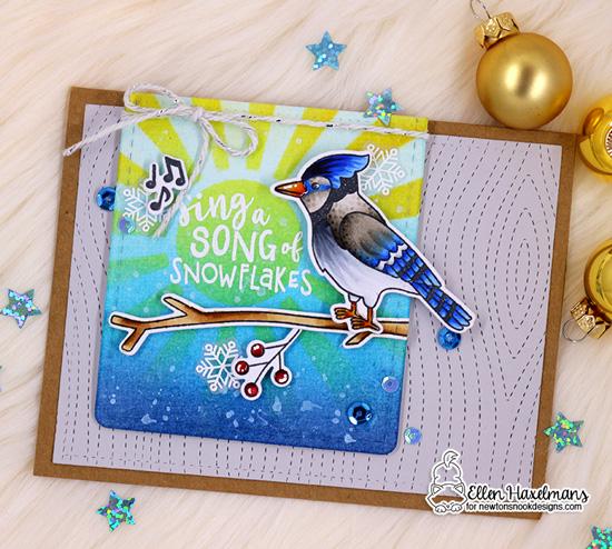 Christmas Chickadee Card by Ellen Haxelmans   Winter Birds Stamp Set and Sunscape Stencil by Newton's Nook Designs #newtonsnook #handmade