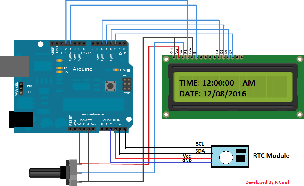Arduino digital clock using rtc module