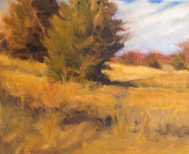 cedar trees, oil painting, art, margaret aycock, prairie, oklahoma