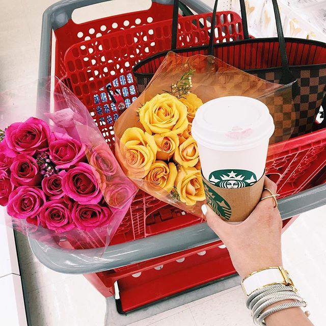 emily gemma, the sweetest thing blog, emily gemma instagram, target run with flowers and starbucks, david yurman bracelet stack