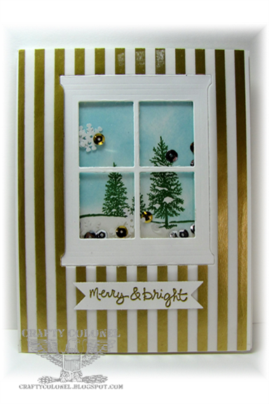 Crafty Colonel Donna Nuce for Cards in Envy Challenge. Stampin'Up Hearth and Home framelits, Happy Scenes, Good Greetings.