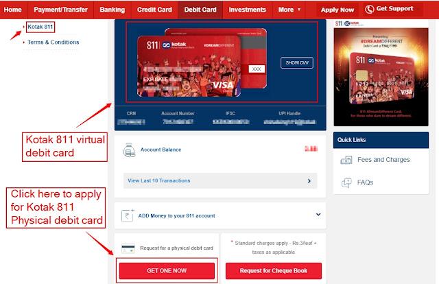 Kotak 811 debit card netbanking