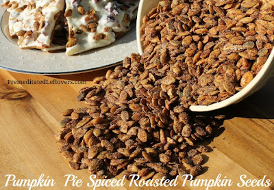Pumpkin pie spice roasted pumpkin seeds