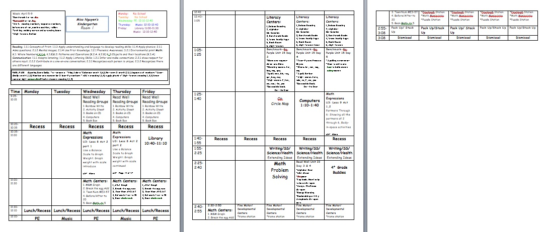 Doc580528 Weekly Lesson Plan Template Word Document Sample – Middle School Lesson Plan Template