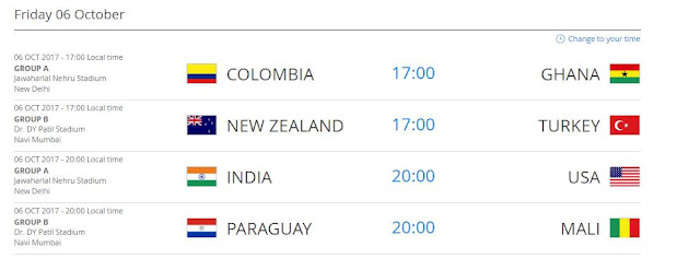 FIFA U-17 World Cup 2017 Fixtures - 6th October 2017
