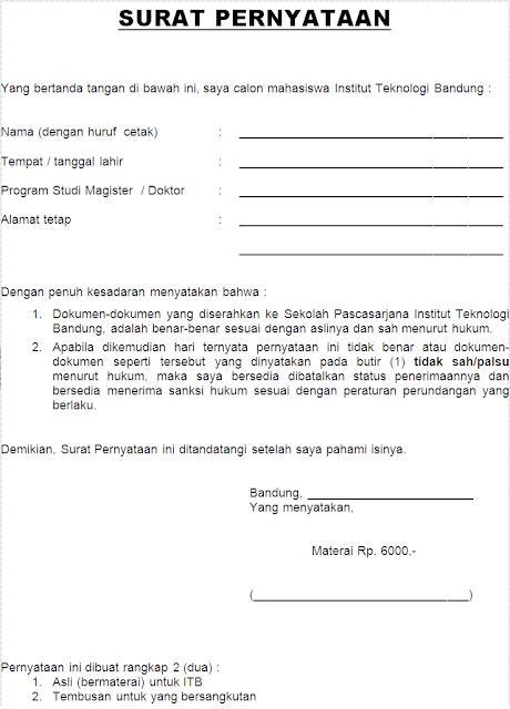 Contoh Surat Pernyataan Keaslian Dokumen