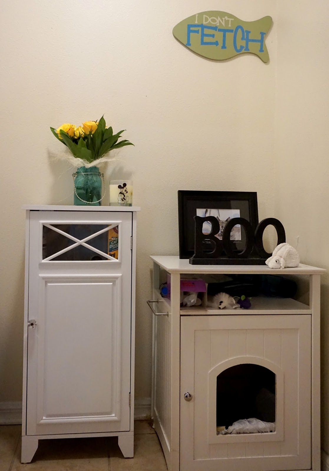 i run for wine: cat litter box area in a small living space