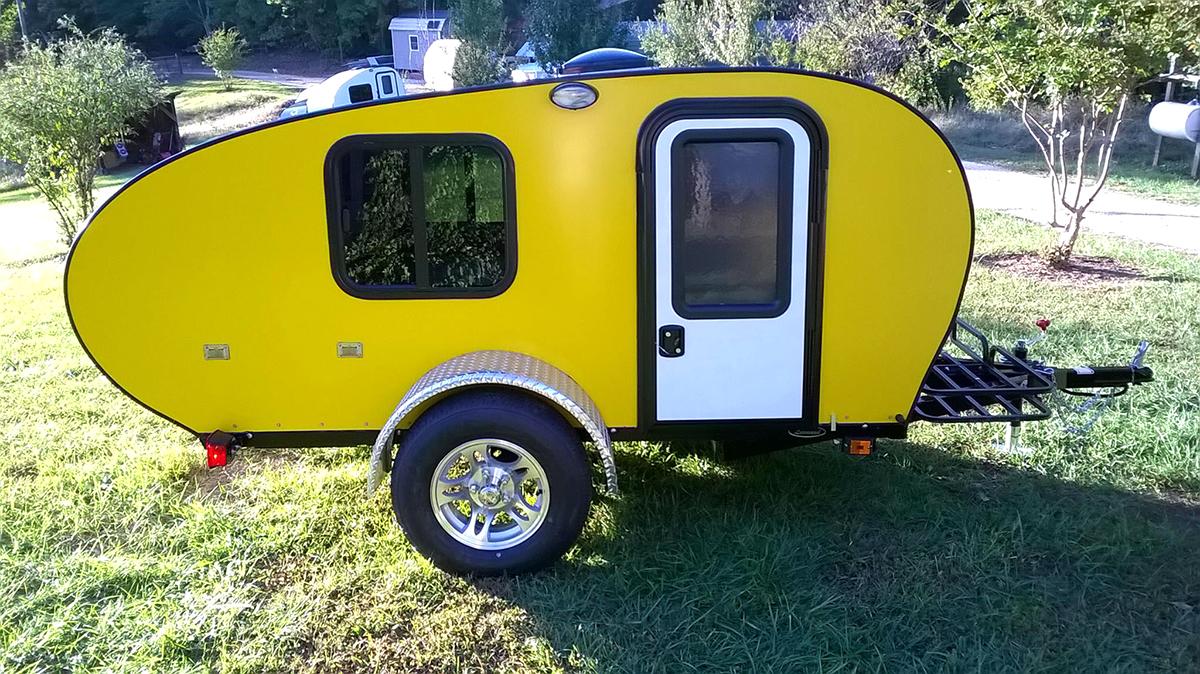 Tiny Yellow Teardrop Rustic Trail Teardrop Campers