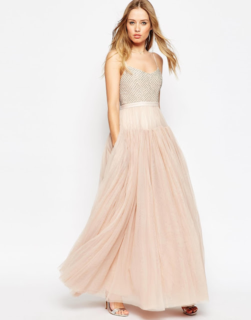 needle thread tulle dress, peach tulle dress, bridesmaid dress pockets,
