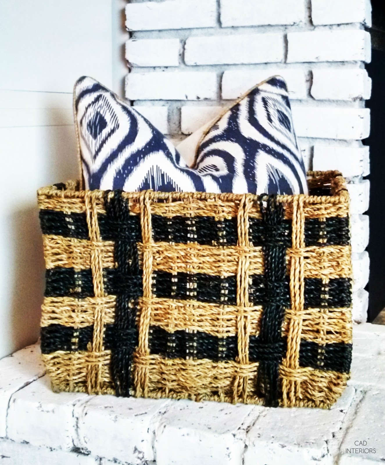 one room challenge interior design decorating modern bohemian eclectic vintage transitional decor woven basket indigo pillow