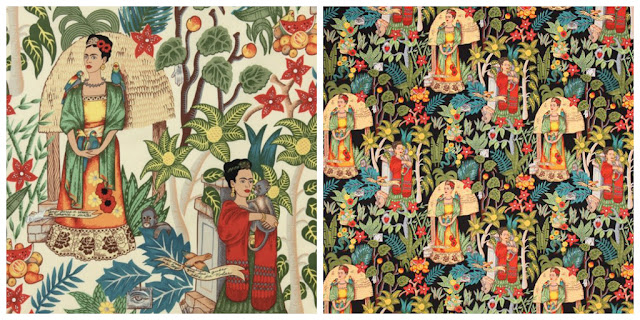 Repeat pattern in two colourways of Frida's Garden design by Alexander Henry