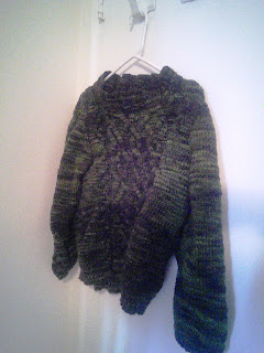 A dark green sweater hanging on a clothes hanger.  The front of the sweater has an aran cable pattern.