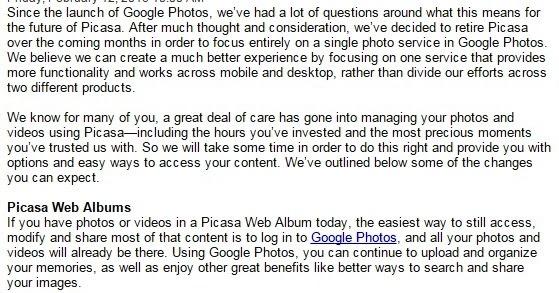 Jan Leow: Picasa Web Album ends by 15/March/2016