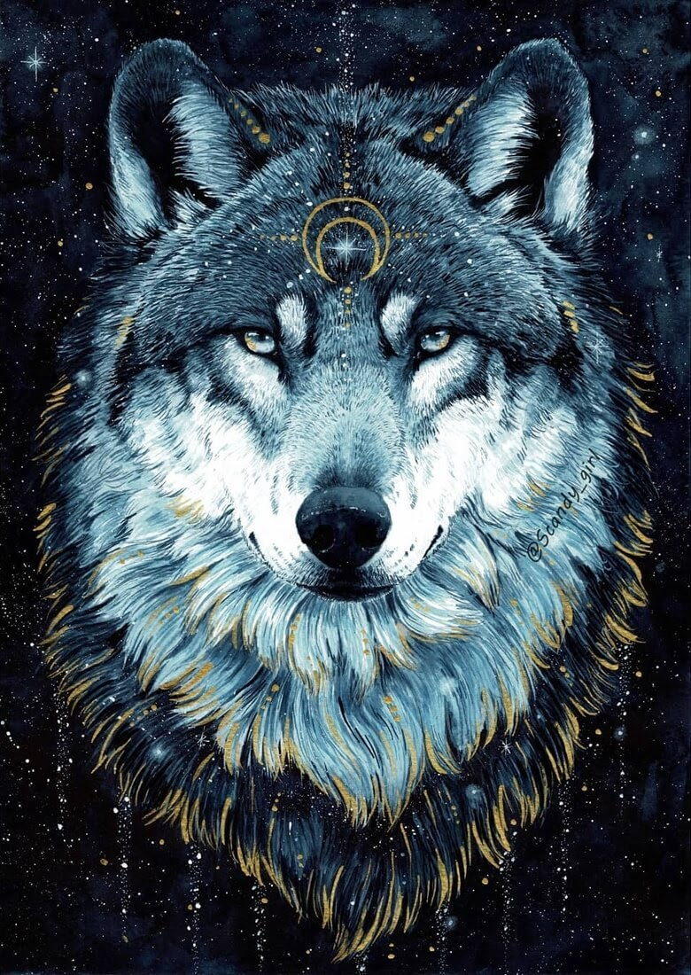 08-Wolf-Jonna-Hyttinen-Blue-and-Gold-Fantasy-Animal-Watercolor-Paintings-www-designstack-co